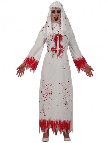 Killernonne Damenkostüm für Halloween weiß-rot