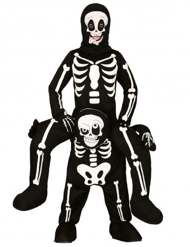 Skelett-Huckepack-Kostüm für Kinder schwarz-weiss