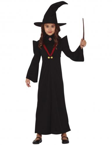 Hexen-Lehrmeisterin Mädchenkostüm für Halloween schwarz-rot-gold