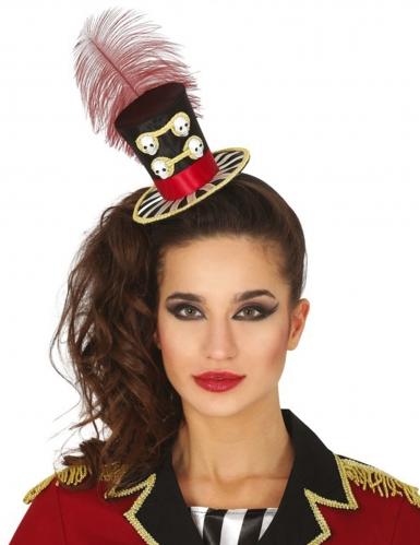 Halloween-Zylinder Mini-Hut mit Haarreif rot-schwarz-weiss