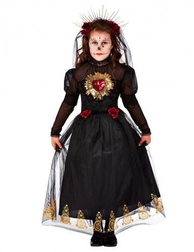 Dunkle Calavera-Braut Tag der Toten-Mädchenkostüm schwarz-rot-gold
