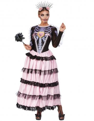 Tag der Toten Skelettbraut-Damenkostüm schwarz-rosa-violett