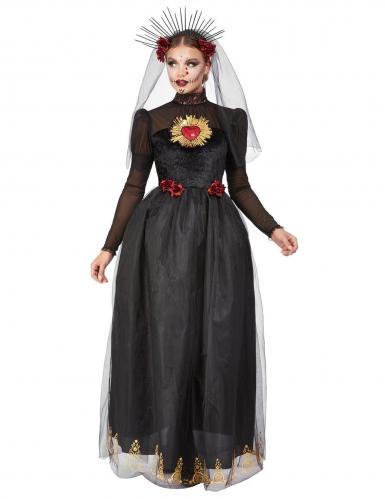 Dia de los Muertos Braut-Kostüm schwarz-rot