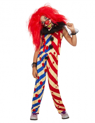 Wahnsinniger Killerclown Mädchen-Kostüm bunt