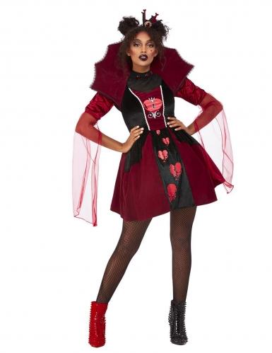 Herzkönigin-Kostüm für Damen Halloween schwarz-rot