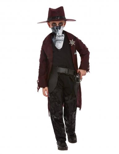 Untoter Cowboy Halloween-Jungenkostüm schwarz-braun-weiß