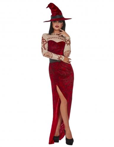 Okkulte Hexenkostüm für Damen mit Hut Halloween rot-beige