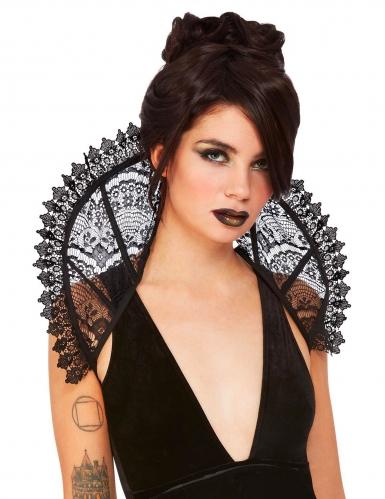 Eleganter Spitzenkragen für Vampire und Gothics schwarz