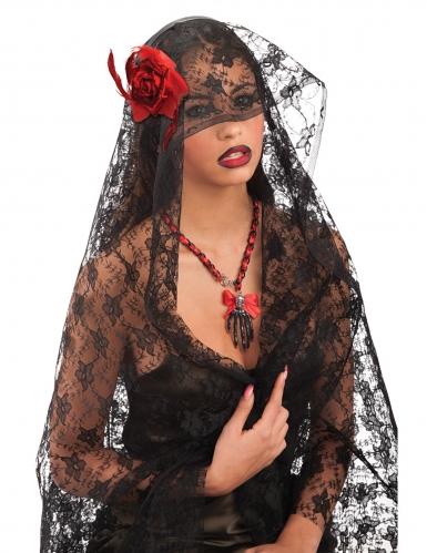 Halloween-Spitzen-Schleier mit rose Kostüm-Accessoire schwarz-rot