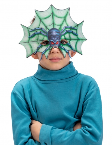 Unheimliche Spinnen-Halbmaske für Kinder bunt