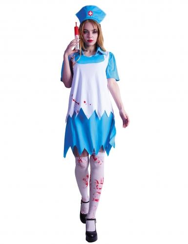 Zombie-Krankenschwester Halloweenkostüm für Damen blau-weiss