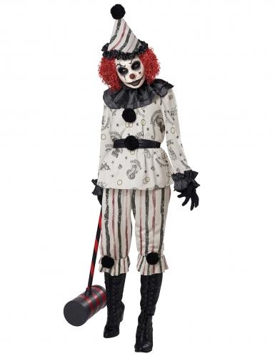 Schauriges Gruselclown-Kostüm für Damen Halloweenkostüm schwarz-weiss