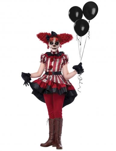 Schauriges Horror-Clown-Kostüm für Mädchen deluxe Halloween rot-weiss-schwarz