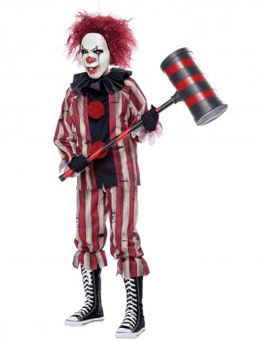 Dämonischer Horrorclown Kinderkostüm für Halloween schwarz-weiß-rot