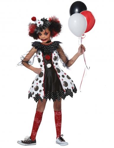 Halloween-Clown-Kostüm für Mädchen schwarz-weiss-rot