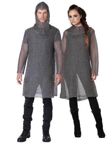 Kettenhemd für Erwachsene aus Stoff mit Haube silberfarben