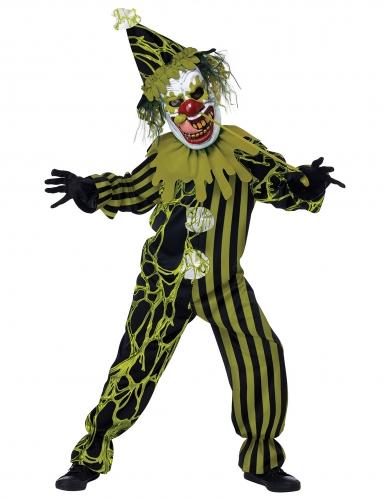 Horrorclown-Kostüm für Kinder mit Maske Halloween grün-schwarz