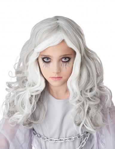 Gruselige Geister-Perücke für Kinder Halloween weiss-grau