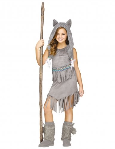 Wolf-Kostüm für Mädchen Halloween-Kostüm grau