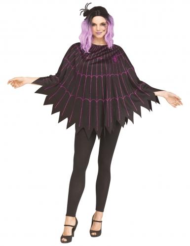 Spinnennetz-Poncho Spinnenkostüm für Damen schwarz-violett