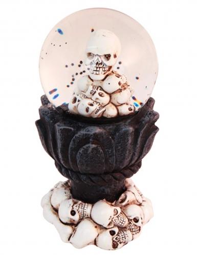 Totenkopf-Schneekugel Voodoo-Deko Halloween 14 x 7 cm