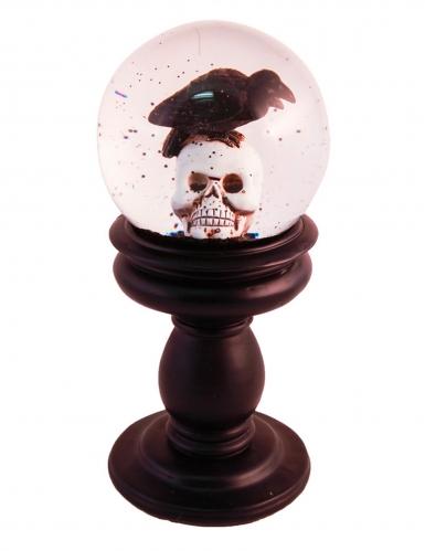 Halloween-Schneekugel Totenkopf mit Krähe Gothic-Deko 21 x 10 cm