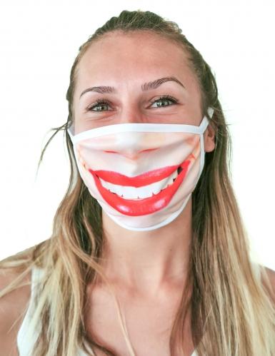 Mund-Nasen-Maske rote Lippen Lächeln Alltagsmasken rosa-weiss