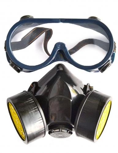 Gasmasken-Attrappe mit Brille Kostümzubehör für Erwachsene