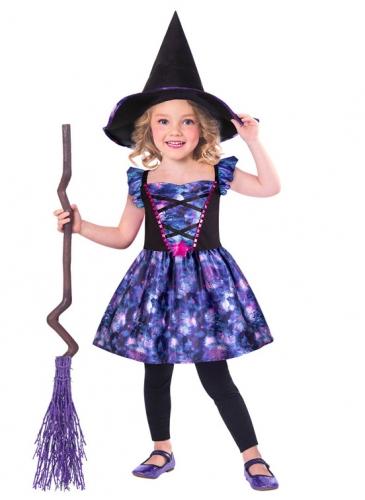 Niedliches Hexe-Kostüm für Kinder blau-violett-schwarz