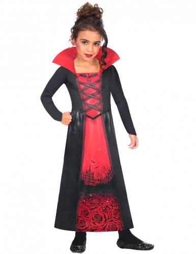 Dramatisches Vampir-Kostüm für Mädchen rot-schwarz
