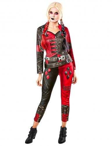Harley-Quinn™-Kostüm aus Suicide-Squad 2™ Jumpsuit mit Jacke rot-schwarz