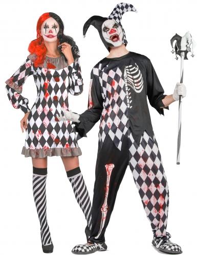 Blutiges Harlekin-Paarkostüm Horrorclown-Halloweenkostüm schwarz-weiss-rot