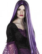 Extralange Vampirperücke Gothic-Perücke lila-schwarz