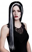 Elegante Vampirin Halloween-Perücke für Damen Kostüm-Accessoire schwarz-weiss
