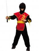 Ninja-Kostüm asiatisches Krieger-Kostüm für Jungen schwarz-rot-gelb