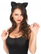 Katzenohren mit Pailletten Halloween-Accessoire schwarz
