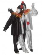 Pierrot-Kostüm für Erwachsene trauriger Clown Halloween-Kostüm schwarz-weiss-rot