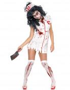 Zombie-Krankenschwesterkostüm für Damen Halloween weiss-rot