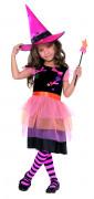 Wald Hexe Zauberin Kinder-Kostüm schwarz-pink