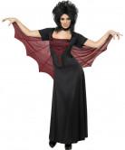 Vampirin Damen-Kostüm mit Cape schwarz-rot