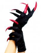 Halloween Handschuhe mit Krallen schwarz-rot