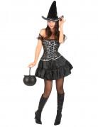 Kurzes Hexen-Damenkostüm schwarz-silber