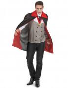Vampir-Herrenkostüm Vampirbaron-Oberteil schwarz-rot-grau