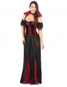 Vampir-Lady schulterfreies Damenkostüm rot-schwarz