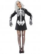Sexy Skelettlady Halloween-Damenkostüm schwarz-weiss