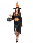 Heisse Spinnen-Hexe Halloween-Damenkostüm Zauberin schwarz-orange