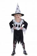 Spinnenhexe Halloween-Kinderkostüm schwarz-weiss
