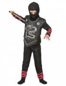 Ninja-Kostüm für Jungen Kinder Drache schwarz-rot-silber