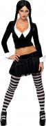 Sexy Wednesday Addams Family Halloween Damenkostüm schwarz-weiss