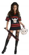 Jason™-Kostüm für Damen Freitag der 13. schwarz-rot-weiss